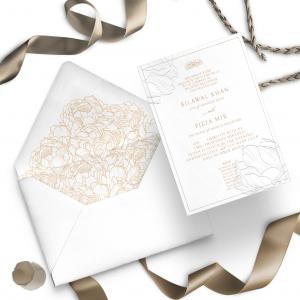 classic white wedding invite, gold foiling, shadi card, cards, foiling, invitation.