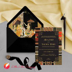 black royal style wedding cards